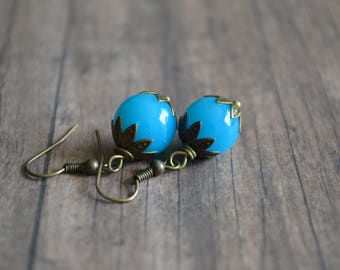 Vintage Style Earrings, Handmade Earrings, Gift Idea, Gift For Her, Elegant Earrings, Boho Earrings, Blue Earrings, Summer Earrings