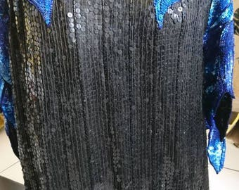 Authentic vintage Frank usher silk blue /black sequin tunic