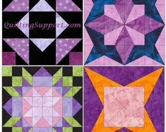 15 Inch HC Stars Block Set of 4 Template Quilting Block Patterns Set 1 PDF
