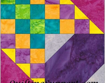 Checkered Past 10 Inch Paper Piece Foundation Quilting Block Pattern PDF