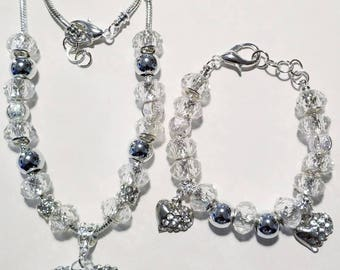 Silver & Clear Necklace Set