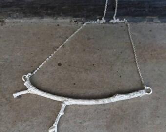 Silver Branch Necklace.Twig Necklace. Simple Minimalist Necklace. Tree Layering Necklace. Silver tree branch necklace. branch charm.
