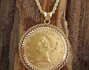 """1881-S 10D Liberty Coin Pendant Necklace in Diamond-cut & Rope Bezel w/24"""" Rope Chain in 14k Gold -EB683"""