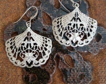Lacy Filigree Fan Earrings in Sterling Silver -EB774