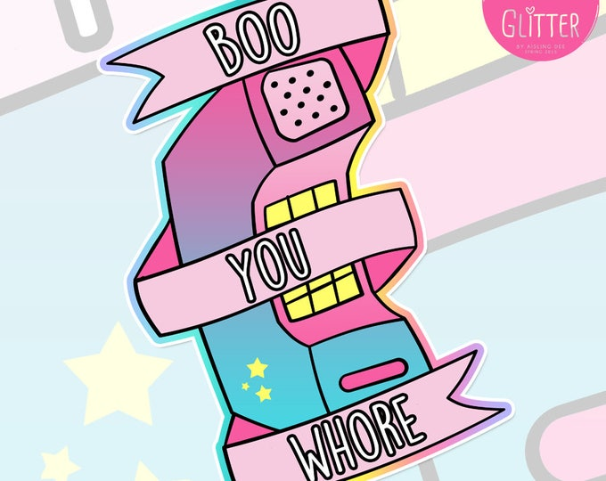 """Mean Girls """"Boo You Whore"""" Holographic Sticker"""