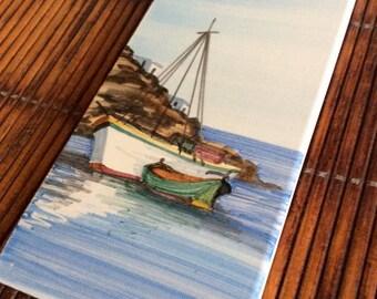 Vintage Handpainted Sailboat Tile, Greece, Signed Art, Nautical, Coastal, Beach, Statement Wall Decor