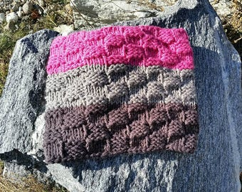Chunky Scarf, Pullover Scarf, Pink scarf, Chunky, Sassenach scarf, Chunky infinity Cowl, Grey Scarf, Color Block cowl, Pink Cowl, Pullover