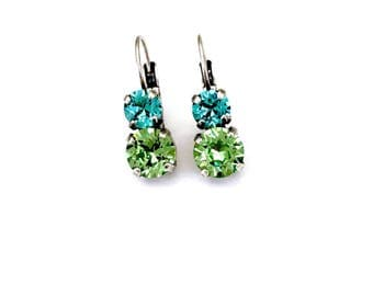 Bora Bora 2 Stone Swarovski Crystal Drop Lever Back Earring • Turquoise Blue & Green