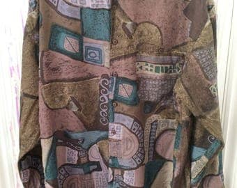 Long sleeve green brown purple abstract print button up oversized shirt L