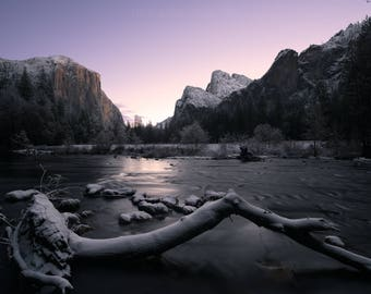 Velvet Dawn - Fresh Snow in Yosemite Valley - Merced River - Yosemite, California CA - Fine Art Photo Print - Home Decor