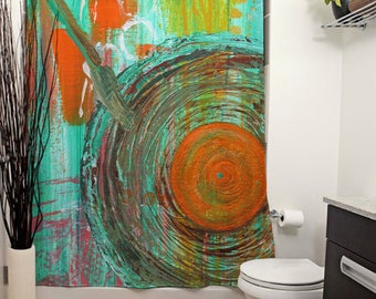 Big Band Printed Shower Curtain, Bathroom Decor, Home, Abstract Art, Retro Music, Musical Decor, Knife Painting, Turquoise, LP Record Player