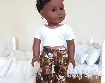 18 inch doll pajama pants | coffee/espresso print pants