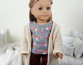 18 inch doll 3 piece outfit | maroon pants | floral tank top | knit cardigan. Pieces priced separately.