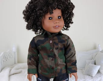18 inch doll camo flannel button up shirt | camouflage shirt