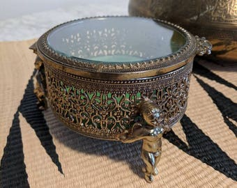 Brass and Glass Boudoir Box for Jewelry or Accessories