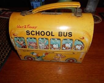 1960s Walt Disney dome top School Bus  lunch box No Thermos