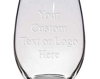 Custom Monogrammed Personalized Stemless Wine Glasses - Bridesmaid Gifts, Engraved Customized for Free