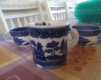 Blue and White Cups - Delft Blue - Dutch Blue - Three Beautiful Cups - Coffee Cups - Tea - KItchen Table, Home Decor, Very Pretty!