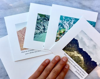 Quote the Land Graphic Photo Recycled 5x5 Square Greeting Card Set of 4