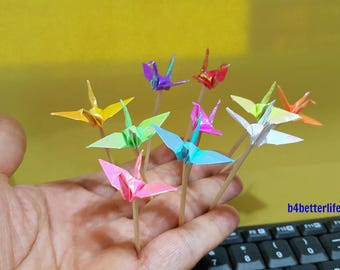 "Lot of 20pcs 1.5"" Origami Crane Cake Topper, Cocktail Picker. (AV paper series). #CP15b."