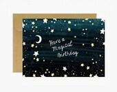 Carte anniversaire, joyeux anniversaire, carte postale, carte étoile,motif lune, cosmos, carte célébration, livraison gratuite france