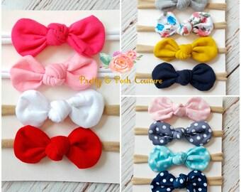 SET of 4 Nylon baby headbands, baby headbands, nylon headband,newborn baby headband set,baby girl headbands,mini bow headband,White headband