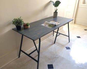 Spruce Wood, Gray Desk On Ikea Legs. Choose Size From Menu. Free Shipping