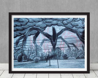 Stranger Things Season 2 Will's Drawing Shadow Monster Replica Prop Netflix Show The Upside Down Hawkins Framed Print