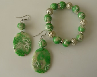 Green bracelet set and polymer clay earrings