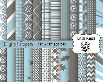 80% OFF SALE Light Blue and Gray Digital Scrapbooking Papers 24 jpg files 12 x 12 - Instant Download - D163