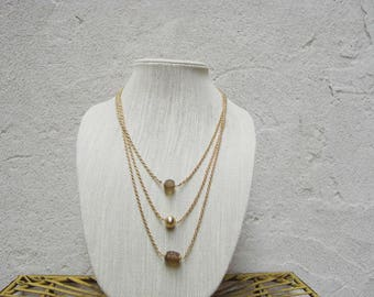 Three Tier Gold Chain Necklace With Pendant Bead