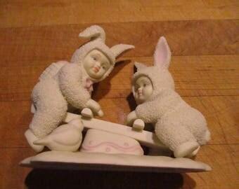 Dept 56 Snowbunnies bunny on teeter totter