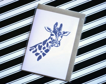 Giraffe - Ecofriendly Blank Greeting Card with Vegan Envelope - 100% Recycled Paper and Biodegradable Packaging