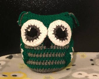 Green and heather grey plush owl