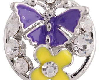 KC8823 ~ 3D Butterfly Sits on Enameled and Crystal Flowers