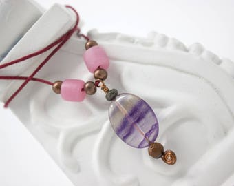 Unique Gemstone Necklace, Boho Pendant, Purple and Pink Jewelry with Copper and Tigers Eye, Fluorite Pendant