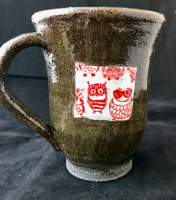 Handthrown Mug with Owl Decals