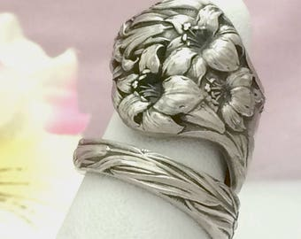 Sterling Silver Spoon Ring, Tiger LILY, Size 7 - 12 Custom, Repurposed Mechanics Antique 1902 Vintage Silverware Jewelry Gift