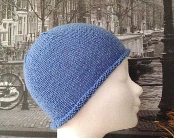 Retro cloche Hat woman, teen, knit blue Merino cashmere france