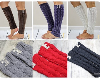 Women Knitted Leg Warmers Boot Toppers With Crystals