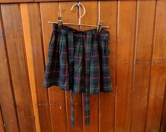 1970s // URSULINE GIRL // Vintage Plaid Girl's Skirt