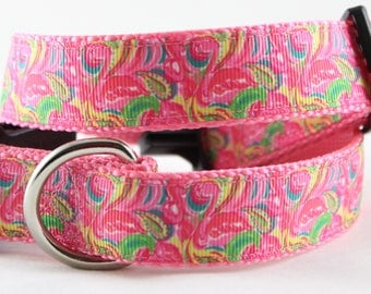 "Flamingo Flurrie 1"" Dog Collar"