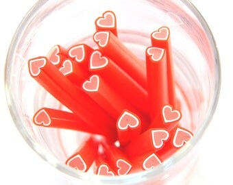 10 polymer clay canes nail art heart-shaped red 50mm