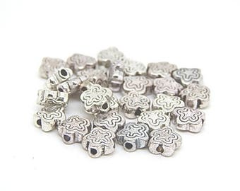 10 beads spacer flat flower silver-plated 7x7mm