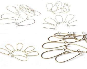 10 supports boucles d'oreilles dormeuses 33x14mm //argenté, bronze, doré, platine