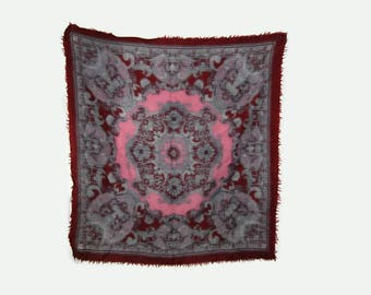 70's wool square scarf