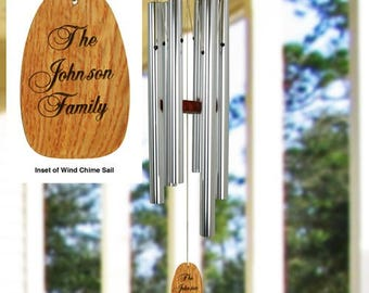 Personalized Wind Chime, Wood Sail Wind Chime. Engraved Family Wind Chime