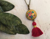 Bright Red Tassel Hand Embroidered Necklace Pendant - Bouquet pink blue Flowers - mustard yellow Cotton Fabric  - Antiqued Bronze Gold