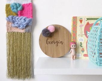 Custom Pom Pom Name Plaque | Nursery & Kids Decor