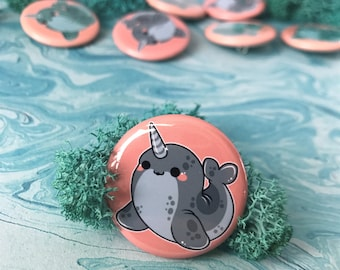 Kawaii Narwhal Pinback Button or Magnet - ( buttons pin pins cute flair )